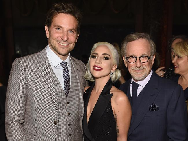 Bradley Cooper, Lady Gaga, and Steven Spielberg at The National Board of Review Annual Awards Gala in New York.