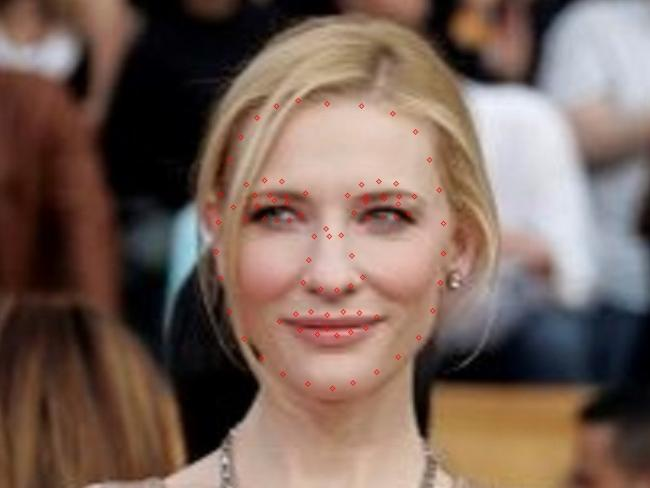 Cate Blanchett has a kite shaped face, as demonstrated by the red dots. Picture: OPSM