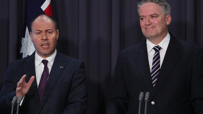 Treasurer Josh Frydenberg and Finance Minister Mathias Cormann. Picture: Kym Smith