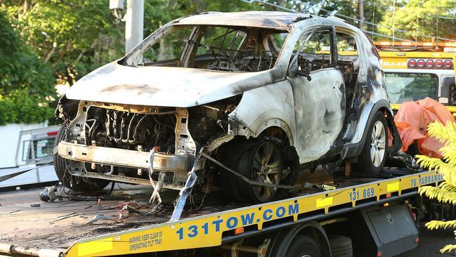 Ms Baxter's burnt out car. Picture: Lyndon Mechielsen/The Australian