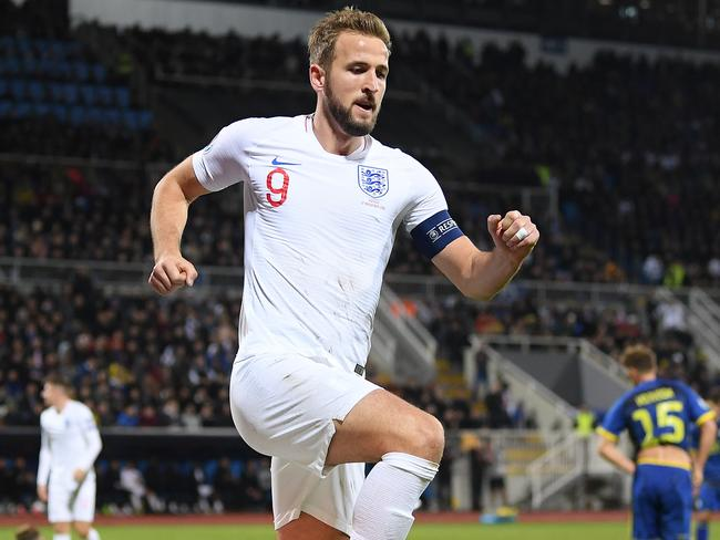 Harry Kane celebrates scoring for England. Picture: Getty Images