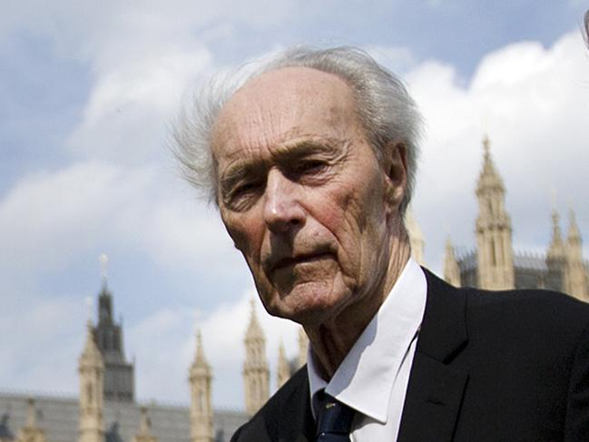 Norwegian war hero and resistance fighter Joachim Roenneberg in a park near the Palace of Westminster, after receiving the Union Jack Medal for his efforts and cooperation with the British during the second World War. Picture: AP
