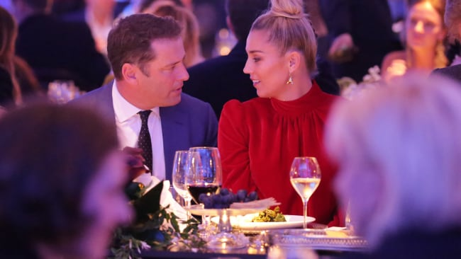 Karl Stefanovic and Jasmine Yarbrough at the David Jones fashion show earlier this year. Photo: Christian Gilles