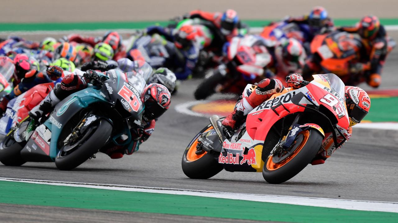 Marquez leads on the first lap in Aragon.