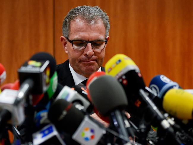 Comment ... Lufthansa Group CEO Carsten Spohr faces the media. Picture: David Ramos/Getty Images