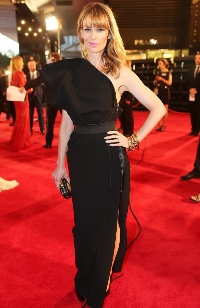 Kat Stewart chose a dramatic black dress for this year's Logies. Picture: Julie Kiriacoudis