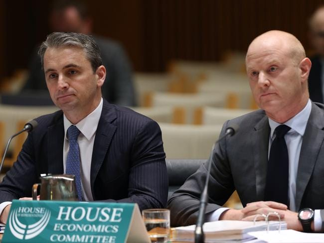 Matt Comyn with Ian Narev before House Economics Committee at Parliament House last year. Picture: Gary Ramage