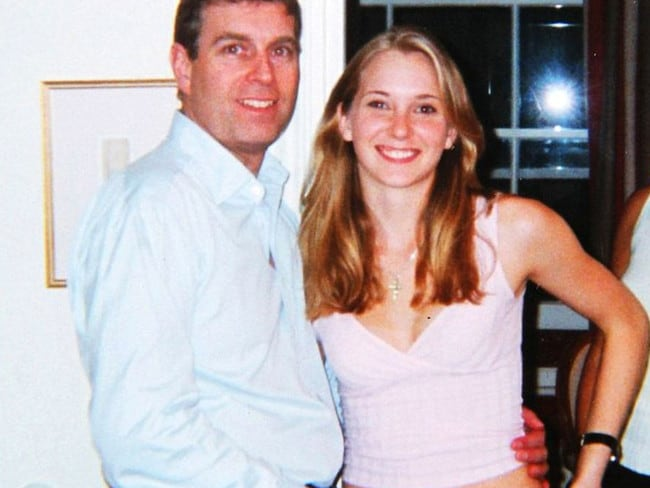 Prince Andrew rests his hand on a 17-year-old Virginia Giuffre's (nee Roberts) hip at Ghislaine Maxwell's townhouse in London in 2001. Picture: US District Court
