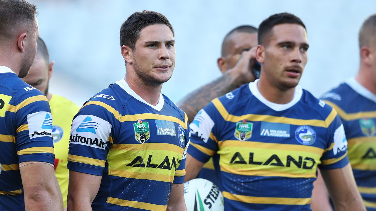 Parramatta players look on after another loss.