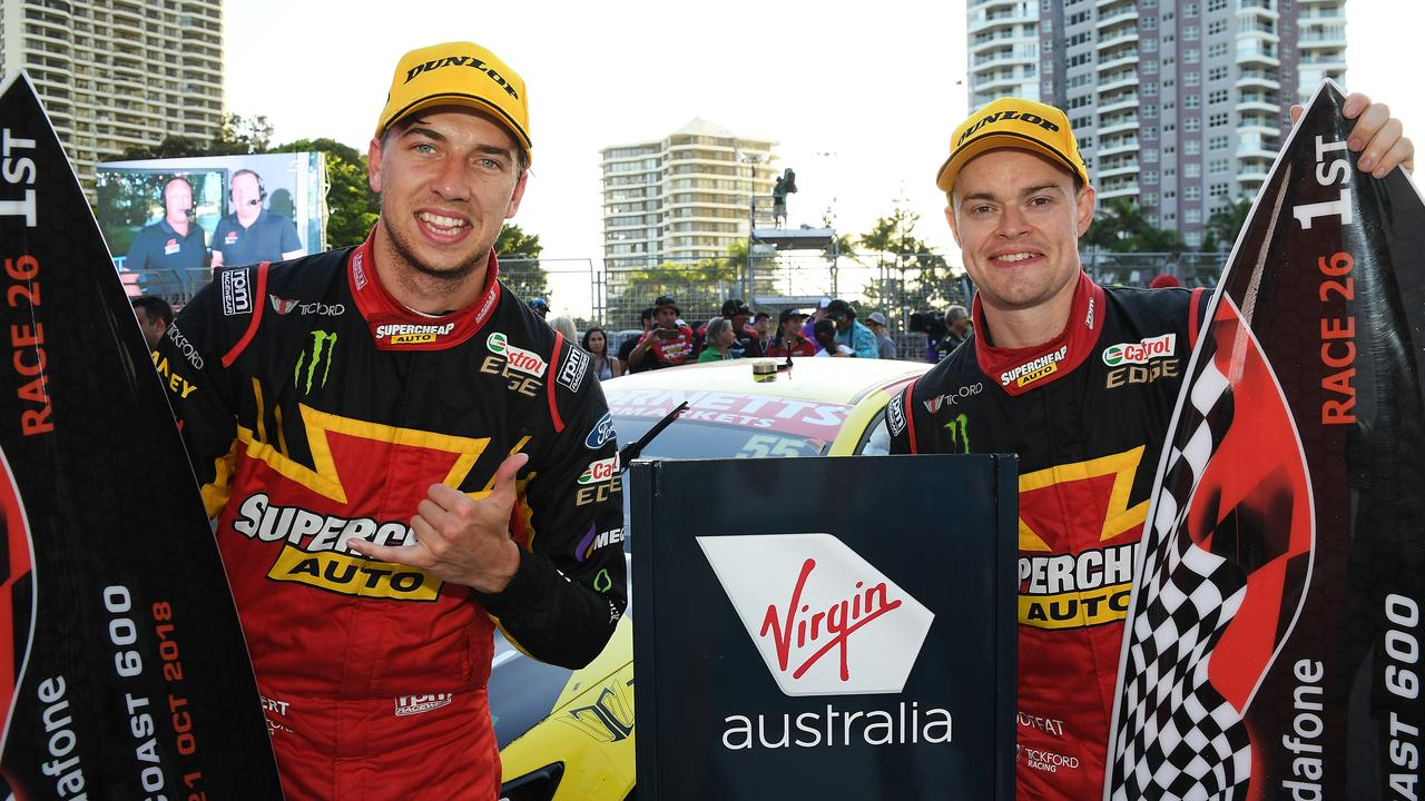 (L-R) Chaz Mostert and James Moffat celebrate their Gold Coast win last year. Picture: Daniel Kalisz