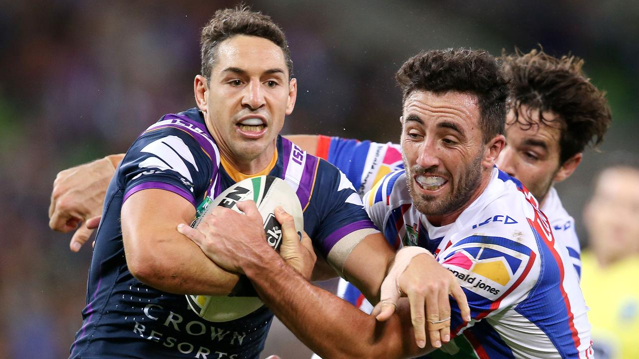 For the second time in three weeks Storm fullback Billy Slater has been criticised for diving in order to win his side a penalty. Photo: Michael Klein