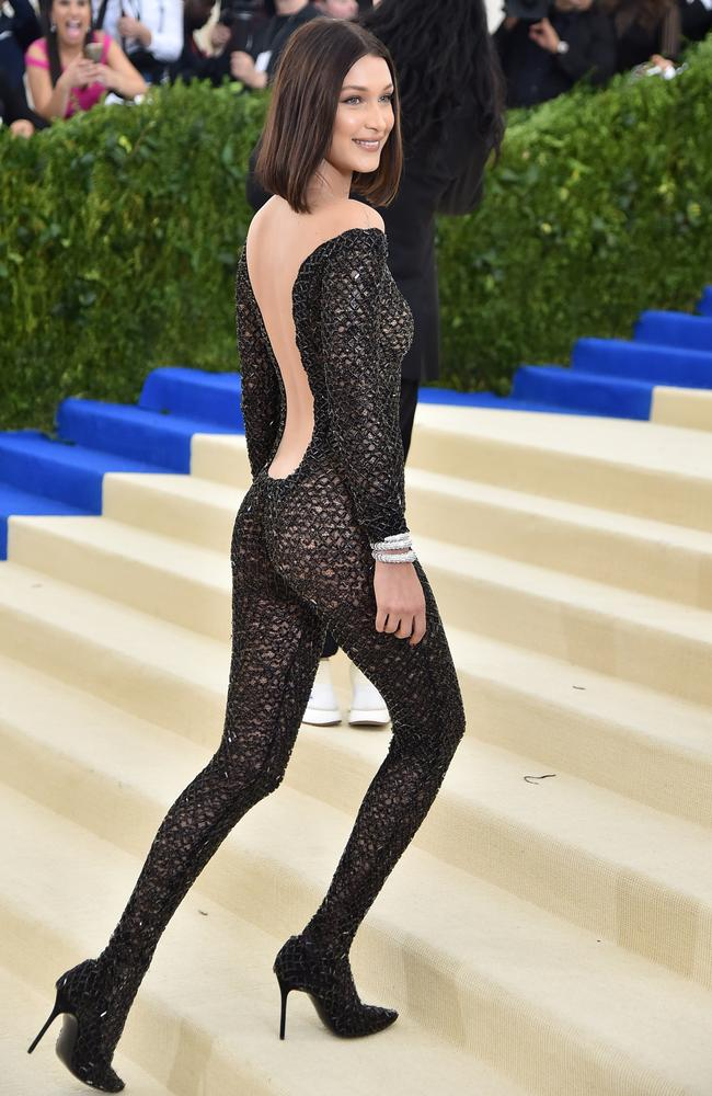 Bella turned heads wearing a catsuit at the Met Ball last year. Picture: Theo Wargo