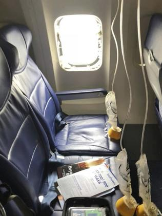 The window that was shattered on Southwest Airlines. Picture: AP