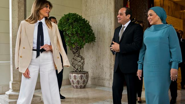 US First Lady Melania Trump with Egyptian President Abdel Fattah al-Sisi and his wife Intissar Amer. in the Egyptian capital Cairo Picture: Doug Mills / AFP