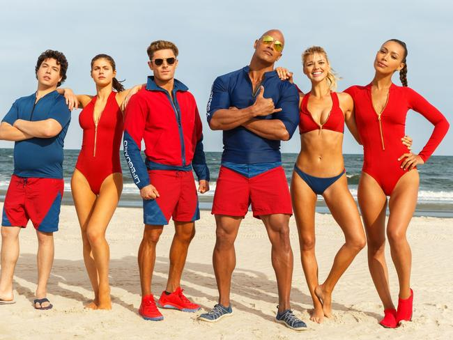 Jon Bass plays Ronnie, Alex Daddario plays Summer, Zac Efron plays Matt Brody, Dwayne Johnson plays Mitch Buchannon, Kelly Rohrbach plays CJ Parker, and Ilfenesh Hadera plays Stephanie Holden in Baywatch. Picture: Paramount