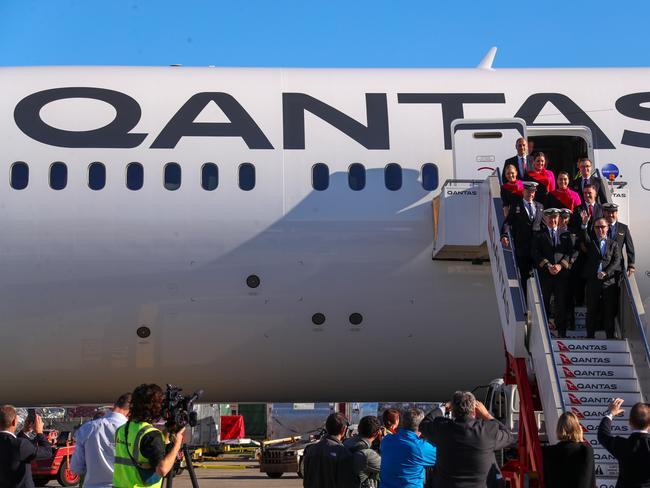Alan Joyce and another 50 people were on the first flight from New York to Sydney. Picture: by James D. Morgan/Getty Images for Qantas.