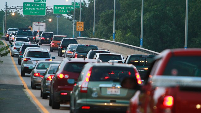 Cars clog the highway as Hurricane Irene approaches as forecasters at the National Hurricane Centre issue warnings for the entire North Carolina coast to the Virginia border. Picture: AP