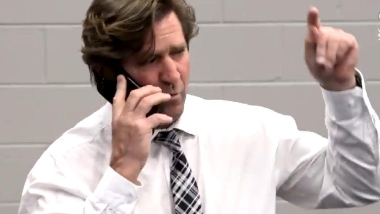 Des Hasler explodes on the phone to Graham Annesley.