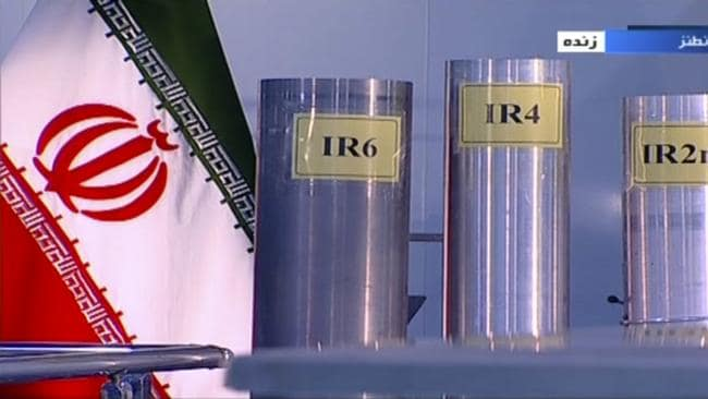 Three versions of domestically-built centrifuges were shown in a live Iranian TV program last year. Picture: IRIB via AP
