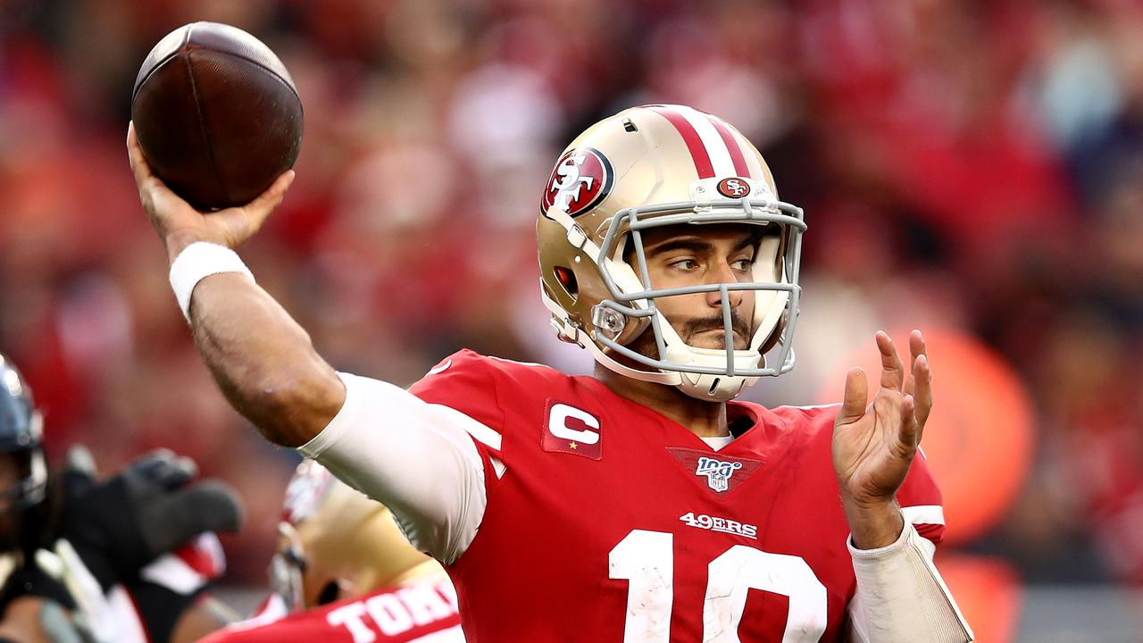 Kyle Shanahan believes his quarterback Jimmy Garoppolo will have fire in the belly. Photo:Getty Images