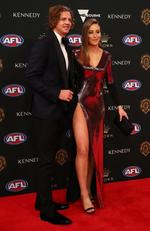 Nat Fyfe of the Dockers and Eleanor Bradshaw arrive ahead of the 2019 Brownlow Medal at Crown Palladium on September 23, 2019 in Melbourne, Australia. Picture: Kelly Defina/AFL Photos/via Getty Images
