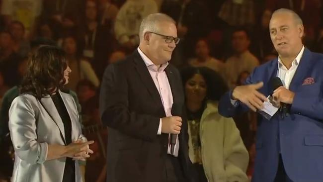 Australian PM Scott Morrison and his wife Jenny on stage at Hillsong with founder Brian Houston.