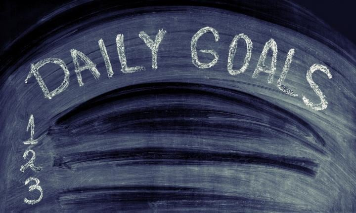 2. Have a daily goal.  <p>Since I have been home I have been setting small daily goals to help structure the very limited spare time I find - the first was to get to the coffee shop. The next to write one article a day. Here, when I do find a few minutes in between feeds, or am making a plan for the day, I have something to base it on. On both days I have wanted to get to the coffee shop we have managed to leave the house by 9am, simply because I planned for it and everyone at home knew that's what we are working towards to make sure the twins were fed, dressed and in the pram ready to go nice and early.</p>