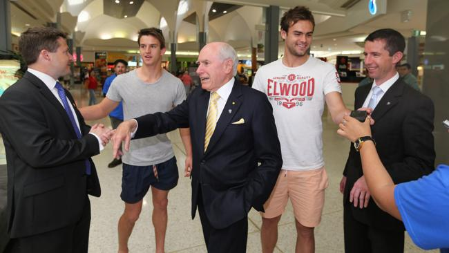 Another selfie: John Howard in Westfield West Lakes with Senator Simon Birmingham and Liberal candidate for Hindmarsh Matt Williams. Picture: Simon Cross