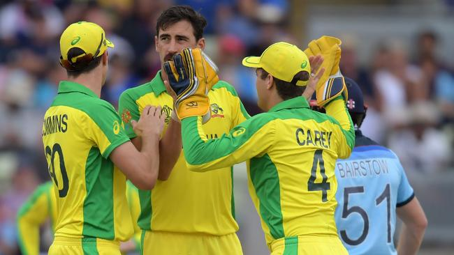 Australia's Mitchell Starc (C) took a tournament-high 27 wickets. Picture: AFP