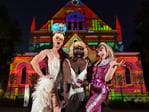 "Drag Queen Jonny Woo, Le Gateau Chocolat from ""A Night at the Musicals"" and Hannie Helsden from ""Yummy"" at the Elder Hall light display. Picture: AAP / Keryn Stevens"