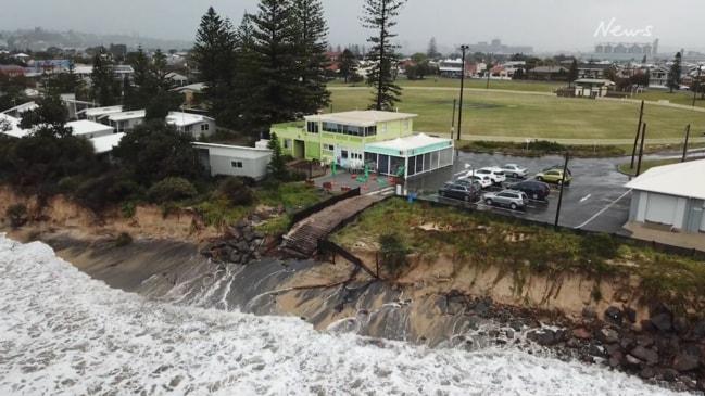 Dramatic erosion at NSW's Stockton beach captured on film