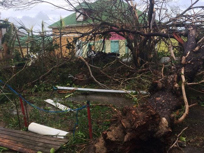 Homes were damaged in Gustavia, on the French Caribbean island of Saint-Barthelemy, after it was hit by Hurricane Irma. Picture: AFP.