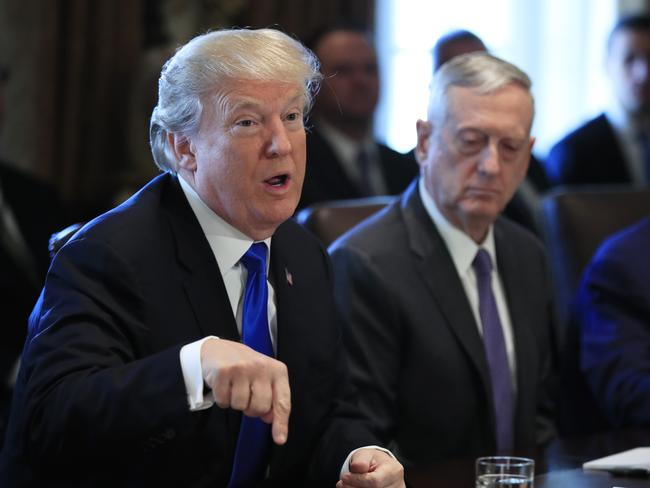 President Donald Trump speaks during a cabinet meeting in Washington. He has been criticised worldwide after declaring Jerusalem the capital of Israel. Picture: AP Photo/Manuel Balce Ceneta