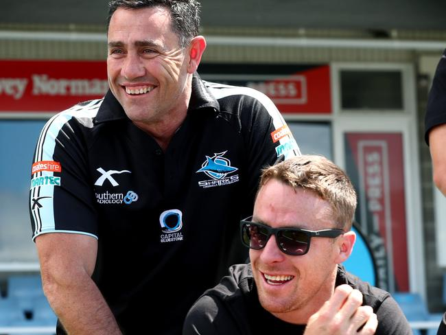 Sharks coach Shane Flanagan and James Maloney celebrate the 2016 premiership.