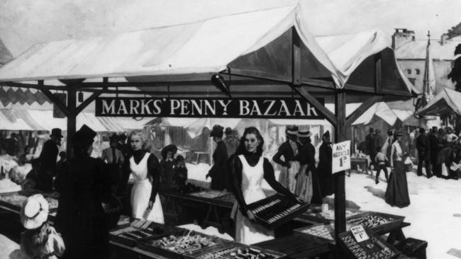 An illustration of the first Marks and Spencer, which opened in Manchester on this day in 1894.
