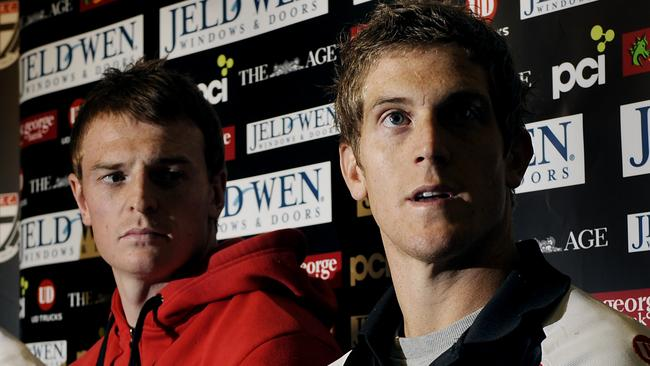 Brendon Goddard and Nick Dal Santo during the press conference at Moorabbin in 2010.