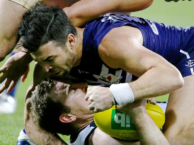 Crowley restricted Johnson to 15 possessions. Picture: Wayne Ludbey