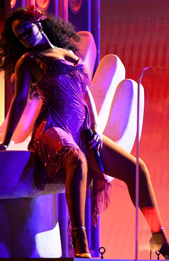 Rihanna performs during the 60th Annual Grammy Awards. Picture: AFP