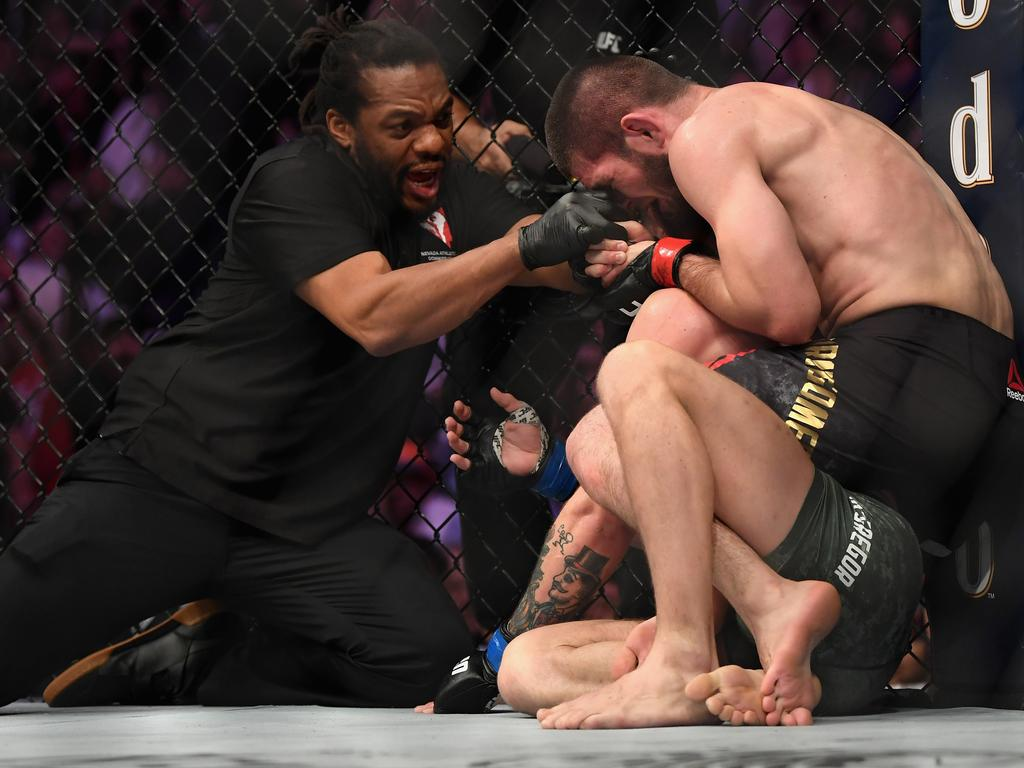 """Abdelaziz suggested McGregor should thank referee Herb Dean """"because if he was not (there), Khabib would have broken his neck to pieces"""""""
