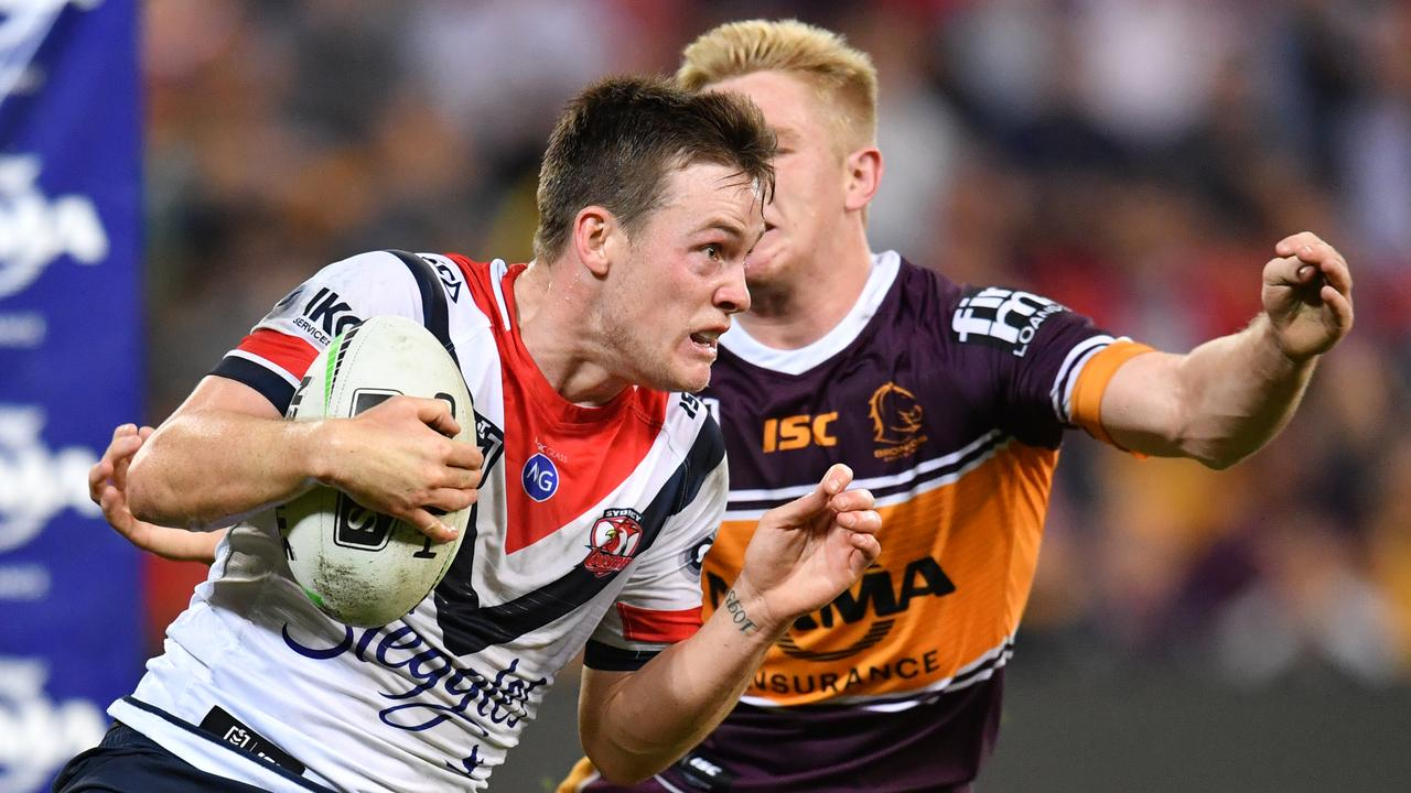 Luke Keary of the Roosters tries to run his way out of trouble