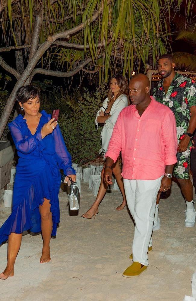 Kris Jenner, Corey Gamble, Khloe Kardashian and Tristan Thompson.