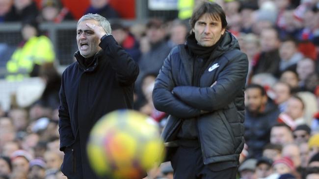Manchester United coach Jose Mourinho, left, and Chelsea's team manager Antonio Conte