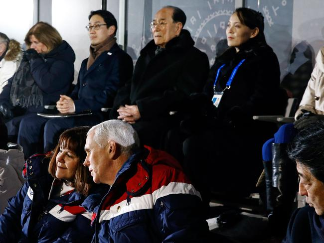 Japan's Prime Minister Shinzo Abe (front R) sits beside US Vice President Mike Pence (front 2nd R) and Pence's wife Karen with North Korea's Kim Jong-un's sister Kim Yo-Jong (back R). Picture: AFP