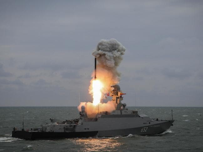 A Russian corvette fires a Kalibr cruise missile during testing. Two of these warships are taking part in exercises in the eastern Mediterranean. Picture: Russian MoD
