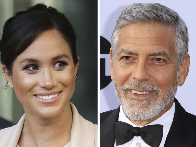 Meghan Markle and George Clooney, who leapt to Meghan's defence, claiming she is being hounded. Picture: AP Photo