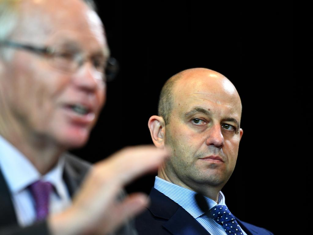 ARL Commission Chairman Peter Beattie and NRL CEO Todd Greenberg at a press conference at NRL headquarters in Sydney, Thursday, December 13, 2018. (AAP Image/Mick Tsikas) NO ARCHIVING