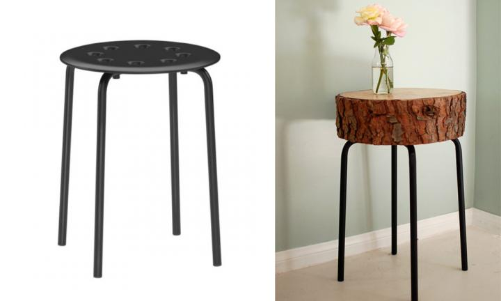 "The MARIUS stools at IKEA are on $7.99 ... and it turns out they are the perfect base for a variety of small tables. You could top them with marble, old antique wood, or even slice of tree trunk! It looks infinitely more eye-catching, right?  <a href=""http://seakettle.com/?p=1285"">See how they did it</a>"