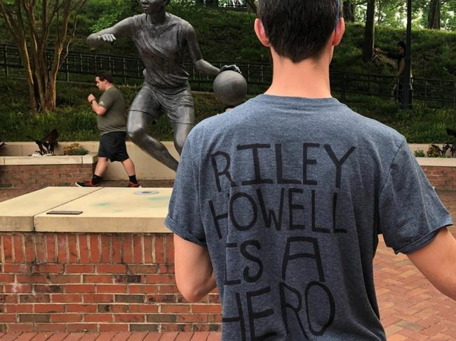 Hero student Riley Howell was remembered by fellow students during memorials across the University of North Carolina campus in the days after his death. Picture: AP