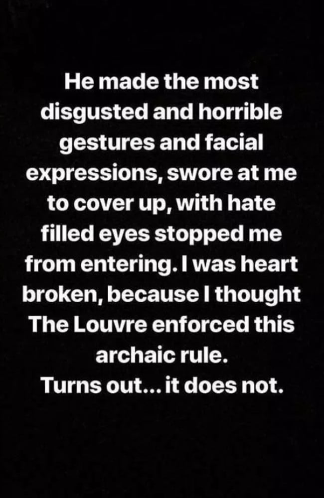 Newsha claimed the security guard made disgusted gestures about her appearance. Picture: Instagram