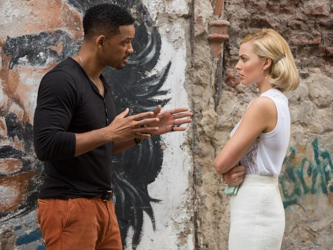 Slick plot ... Margot Robbie and Will Smith in Focus.